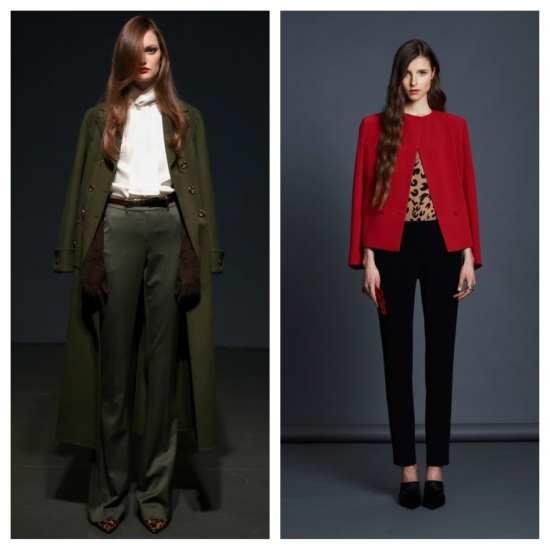 From left: St. John; Jenni Kayne. What says classic better than tailored pants, a white blouse and a peek of leopard print?