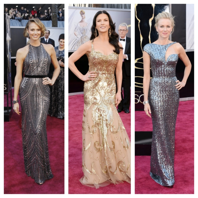 Part badass, part bombshell, these women really know how to rock your not-so-basic gold and silver. From left: Stacy Keibler in Naeem Khan; Catherine Zeta-Jones in Zuhair Murad; and Naomi Watts in Armani Privé.