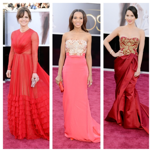red on the red carpet may be cliche, but it's one that I love because, hey, these ladies make it look so damn easy.From left: Sally Field in Valentino Couture; Kerry Washington in Miu Miu; and Olivia Munn in Marchesa.