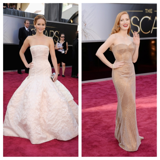 Pale colors can be a real snooze fest on the red carpet, but these Best Actress nominees make it work with a bit of elegance and a whole lot of sexy. From left: Jennifer Lawrence in Dior Haute Couture; Jessica Chastain in Armani Prive.