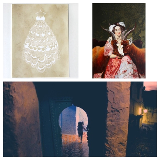 Clockwise from top left: Fancy Dress, Yasmine Surovec; Bound and Protected, Andrea Hornick; and Chefchaouen 1, Shay Spaniola.