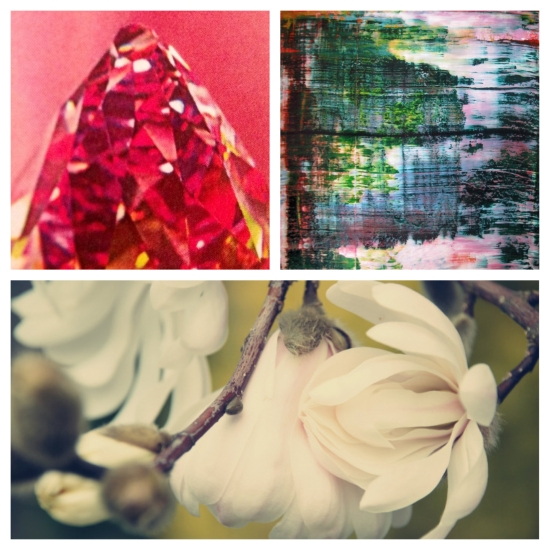 Clockwise from top left: Pop, Tyler Healy; Untitled 2011, Jean Pierre Derian; and Magnolias, Traci French.