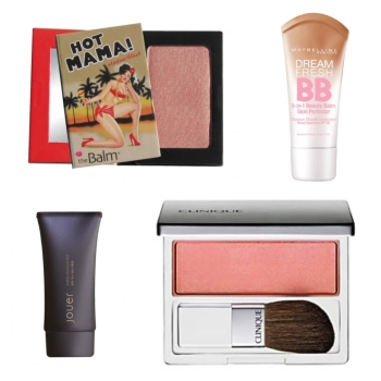 A BB cream or tinted moisturizer provides lightweight coverage, while a rosy blush adds a bit of warmth to cheeks. Clockwise from top left: TheBalm Cosmetics Hot Mama Shadow & Blush; Maybelline Dream Fresh BB; Clinique Blushing Blush; and Jouer Luminizing Moisture Tint.