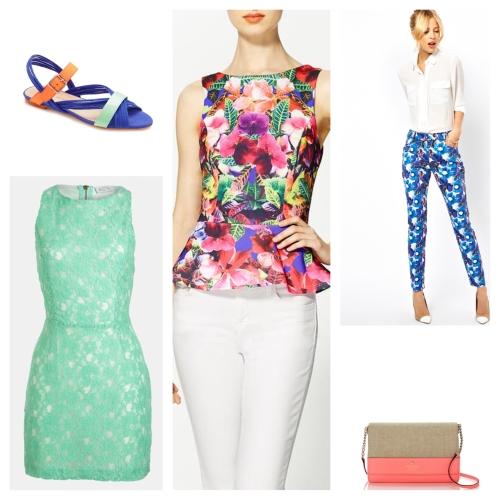 Clockwise from top left: Loeffler Randall sandals; ASOS floral pants; Kate Spade bag; ASTR dress. Center: Eight Sixty Kona top.