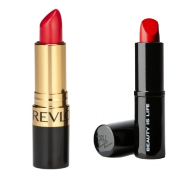 A bright, bold lip--typically in a shade or red or fuchsia-- is my signature. Revlon Super Lustrous Lipstick in Fire and Ice (left) and Beauty is Life Lipstick in Red.