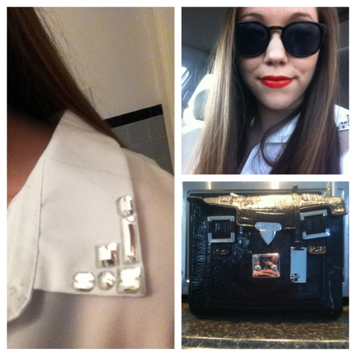 Clockwise from left: H&M blouse; Maybelline lipstick in Neon Red; and Marc Fisher purse.