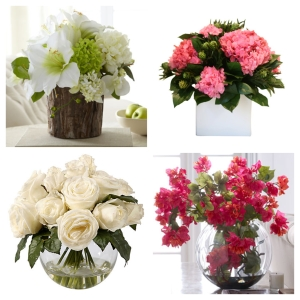 Clockwise from top left: John-Richard Collection Nearly White Faux Floral; ; John-Richard Collection Bougainvilea Bouquet; and Rose in Bubble Bowl Arrangement.