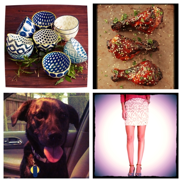 Clockwise from top left: West Elm ikat bowls that I've been eyeing for quite some time; a baked balsamic vinegar and soy sauce chicken recipe I'm dying to try; the last car ride with my sweet foster dog, Emma, who was adopted on Friday (hoorah!); and an ikat skirt I'm really tempted to buy for the summer.