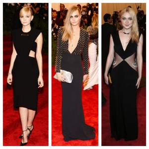 From left to right: Carey Mulligan stunned in a simple Balenciaga LBD; Cara Delevingne rocked a studded Burberry gown; and Dakota Fanning looked gorgeous in a Rodarte cut-out dress.