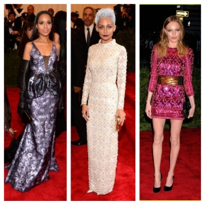 From left to right: Kerry Washington popped in a purple Vera Wang gown; Nicole Richie went for a full-on monochromatic look (down to the hair!) in her Topshop dress; and Kate Bosworth wore a Balmain dress I would kill for.
