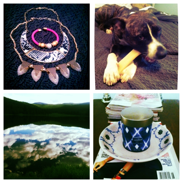 Clockwise from top left: A few pieces of jewelry I picked up last weekend in Minnesota; Paul can't get enough of his welcome-home toy; a summer scent and new catch-all tray I recently got from West Elm; and a beautiful view of the reservoir from my trip to Montana.