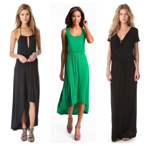 From left to right: Haute Hippie embellished halter; Felicity & Coco high/low tank; and Lanston draped maxi.