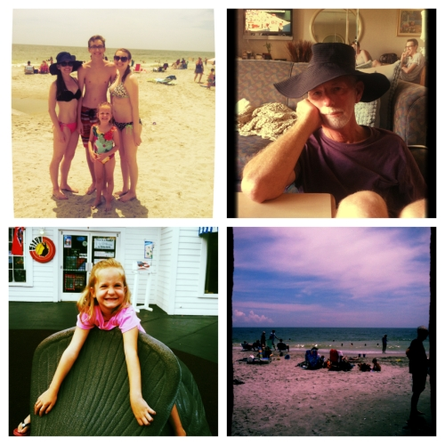 Clockwise from top left: Sun and fun on the beach with my nieces and nephew; my handsome dad modeling my floppy sun hat; a shot of the beach; little Miss Lauren striking a pose.