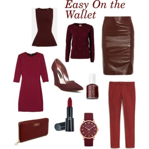 Clockwise from top left: Topshop peplum tank; Jeane Blush sweater; Sara Berman skirt; Madewell pants; Marc by Marc Jacobs  watch; Armani Beauty lipstick in Plum; DKNY leather wallet; Rag & Bone dress; Steve Madden wedges; and Essie nail polish in Burgundies.
