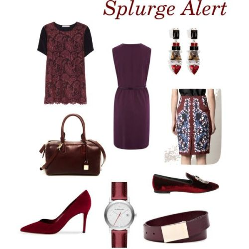 Clockwise from top left: Jason Wu lace top; Raoul dress; Mouton Collett earrings; Erdem skirt; Giuseppe Zanotti loafers; Jil Sander belt; Burberry watch; Gianvito Rossi pumps; and Henri Bendel bag.