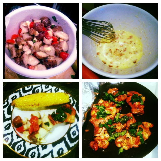 Clockwise from top left: Potato Salad with Lemon-Buttermilk Dressing (via); Bacon Butter for the grilled corn (via); Honey Lemon Basil Grilled Chicken (via); and the entire meal put together.