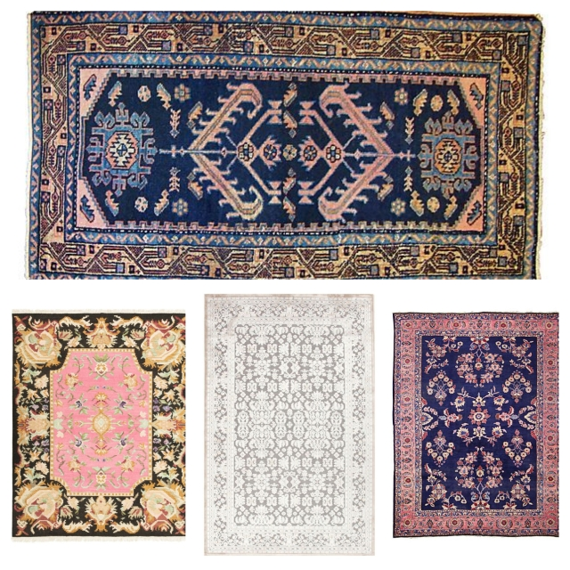 Clockwise from top: Hamadan-Malayer rug; Sultanabad rug; Jaipur Fables rug; and Sabine rug.
