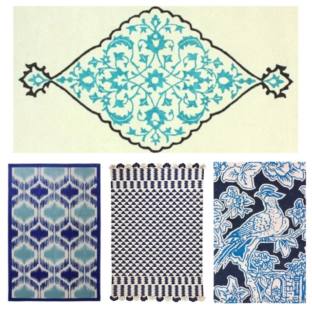 Clockwise from top: Camden rug; Thomas Paul toile rug; Serena & Lily rug; and Mohawk Home rug.