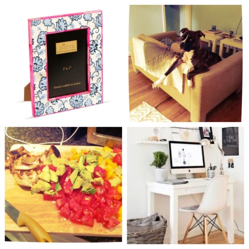 Clockwise from top left: A beautiful picture frame I'm crushing on; my best buddy Paul, keeping me company as always; inspiration for the type of workspace I want to create in my new apartment; and the ingredients for a new pasta recipe I tried out last night.