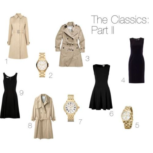 1. Belted trench by  L.K. Bennett 2. Gold watch by Michael Kors 3. Classic long trench by Coach 4. Black sheath dress by DKNY 5. Gold-plated watch by Marc by Marc Jacobs 6. Wool dress by Issa 7. Gold and diamond watch by Michele 8. Double-breasted wool trench by Steven Alan 9. Wool-crepe dress by Oscar de la Renta
