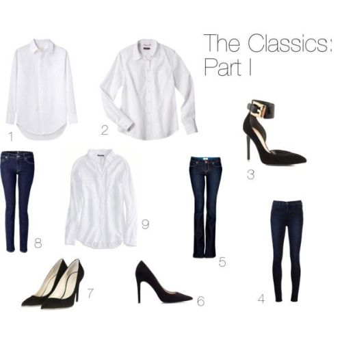 1. Monogram shirt by Boy by Band of Outsiders 2. Button down by Merona 3. Ankle-strap heels by Guess 4. High-rise skinny jeans by J Brand 5. Bootcut jeans by Paige Denim 6. Pointed suede pumps by Zara 7. Black suede pumps with gold trim by Balmain 8. Mid-rise skinny jeans by 7 For All Mankind 9. White button down by AE