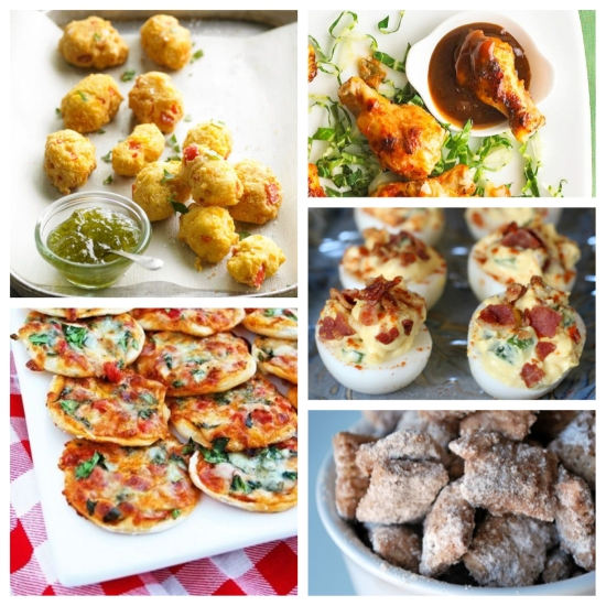 Clockwise from top left: Beer-Cheese Hushpuppies; Thai Chicken Wings with Peanut Sauce; Bacon Jalapeño Deviled Eggs; Churro Chex Snack Mix; and Thin Crust Pizza Bites.