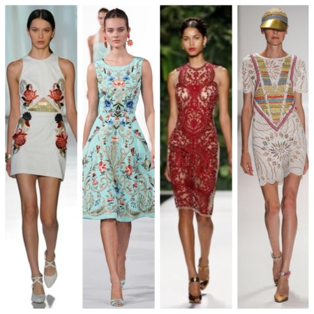 From left to right: Sass & Bide; Oscar de la Renta; Naeem Khan; and Custo Barcelona.