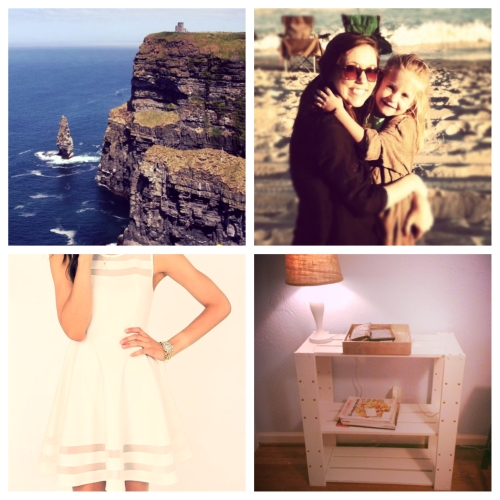 Clockwise from top left: One of my favorite photos from my trip to Ireland, which I just found out I'll be revisiting in February (!); an old photo of little Miss Lauren, who I'll miss dearly; my nearly complete entryway table; and a gorgeous dress I'm thinking about buying for the UNC game next Saturday.