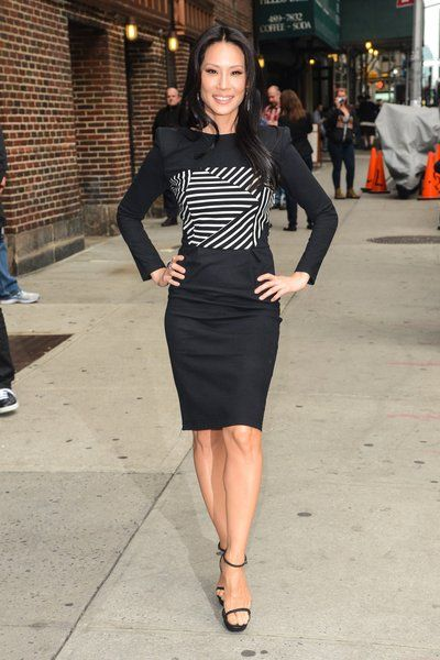 Actress Lucy Liu in a black & white dress by Band of Outsiders
