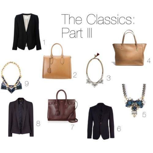 1. Crepe blazer by Day Birger et Mikkelsen 2. Zip-up tote by Alexander McQueen 3. Crystal necklace by Club Monaco 4. Leather tote by Coach 5. Triple-cluster necklace by Anton Heunis 6. Single-breasted blazer by Liberty 7. Mini leather tote by Saint Laurent 8. Crepe blazer by Mango 9. Collar necklace by Tory Burch