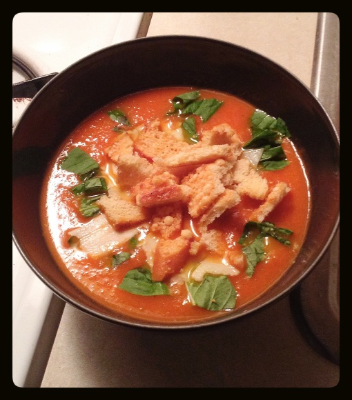Tomato Soup with Parmesan and Croutons