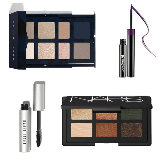 "Clockwise from top left: Navy & nude eye palette by Bobbi Brown; liquid eyeliner by Lancome; ""Ride Up to the Moon"" eyeshadow palette by NARS; and smokey eye mascara by Bobbi Brown."