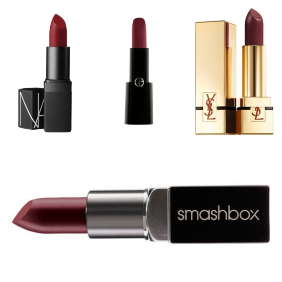 "Clockwise from top left: Cinematic lipstick in ""Future Red"" by NARS; long-wear lipstick by Giorgio Armani Beauty; satin lipstick in ""Prune Avenue"" by Yves Saint Laurent; and cream lipstick in ""Plum Scene"" by Smashbox."
