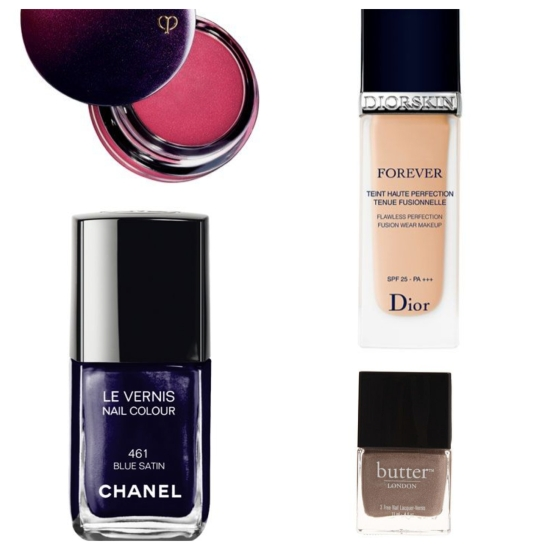 "Clockwise from top left: Cream blush in ""Rosy Frost"" by Clé de Peau Beauté; liquid foundation by DiorButter London; and nail color in ""Blue Satin"" by Chanel."