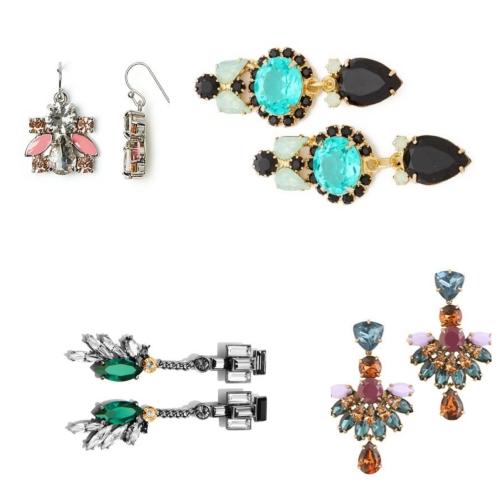 Clockwise from top left: Floral drop earrings by Kate Spade New York; Swarovski earrings by Elizabeth Cole; fan drop earrings by J.Crew; and drop earrings by Henri Bendel.