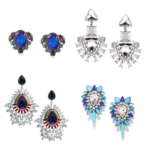 Clockwise from top left: Oval studs by Sparkling Sage; crystal chandelier earrings by Monsoon; crystal studs by BaubleBar; and drop earrings by River Island.