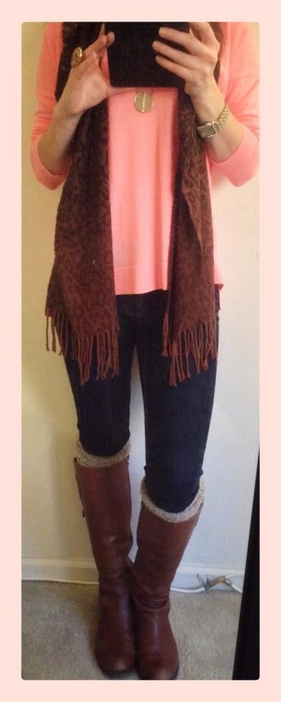 Sweater / J.Crew Jeans / Else Boots / Etienne Aigner (Similar) Socks / Nine West (Similar) Scarf / Cejon (Similar) Necklace / BaubleBar (Similar) Watch / New  York & Company (Similar) Ring / C.Wonder (Similar)
