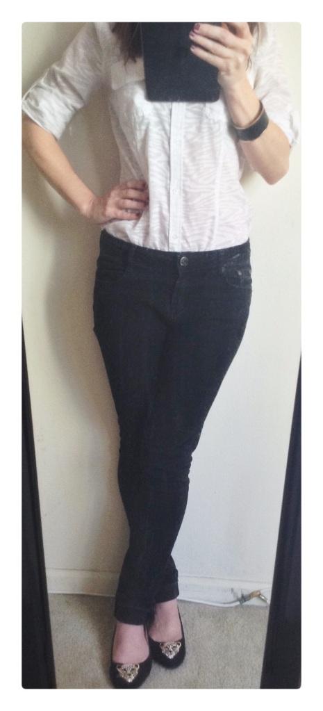fashion, style, shirt, jeans, flats, shoes, leopard shoes, black jeans, black denim, white shirt, white button down, zebra print shirt, accessories, jewelry, bracelet