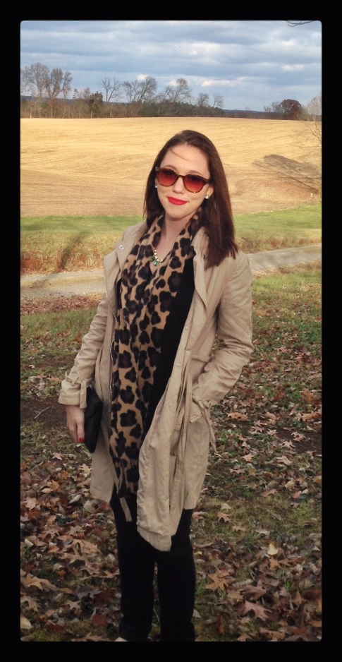 fashion, style, clothes, shopping, clothing, fall fashion, trench coat, leopard print, leopard print scarf, scarf, accessories, winter accessories, necklace, jewelry, clutch, black denim, denim, flats, shoes