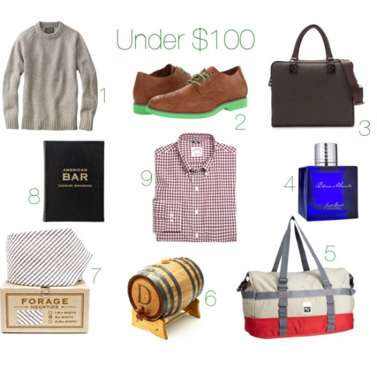 gifts, presents, gift guide, holiday gifts, holiday presents, gift ideas, christmas gifts, christmas presents, guy gifts, gifts for guys, budget gifts, budget gifts for guys, creative gifts for guys, mens gifts, gifts for boys, sweater, gifts under $100, woolrich, wool sweater, shoes, oxfords, sperry top-sider, briefcase, zara, cologne, blue mark, blue mark cologne, jack black, bag, duffel bag, puma, whiskey, whiskey barrel, personalized whiskey barrel, tie, striped tie, forage, book, bar book, cocktail book, american bar, shirt, button down, brooks brothers
