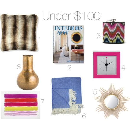 home, home decor, decor, decorating, design, interior design, dining, entertaining, gifts, presents, holidays, holiday shopping, holiday presents, holiday gifts, christmas gifts, christmas presents, gift guide, gift guides, under $50, budget, budget gifts, gift guide under $100, pillow, faux fur, book, flask, clock, mirror, sunburst mirror,throw, blanket, herringbone, accessories, art, vase, williams sonoma, johnathan adler, kate spade new york, kirklands