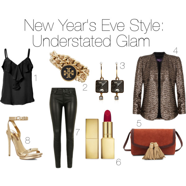 style, fashion, clothes, clothing, shopping, trends, new years eve, nye, new years eve outfit, nye outfit, new years eve style, nye style, tank, silk tank, ruffle tank, l'agence, bracelet, jewelry, accessories, wrap bracelet, tory burch, earrings, drop earrings, marni, blazer, sequin blazer, purse, clutch, velvet, paul & joe, lipstick, beauty, red lipstick, aerin, pants, leather pants, marc jacobs, marc by marc jacobs, heels, pumps, ankle strap heels, gold heels, bcbg, bcbgmaxazria