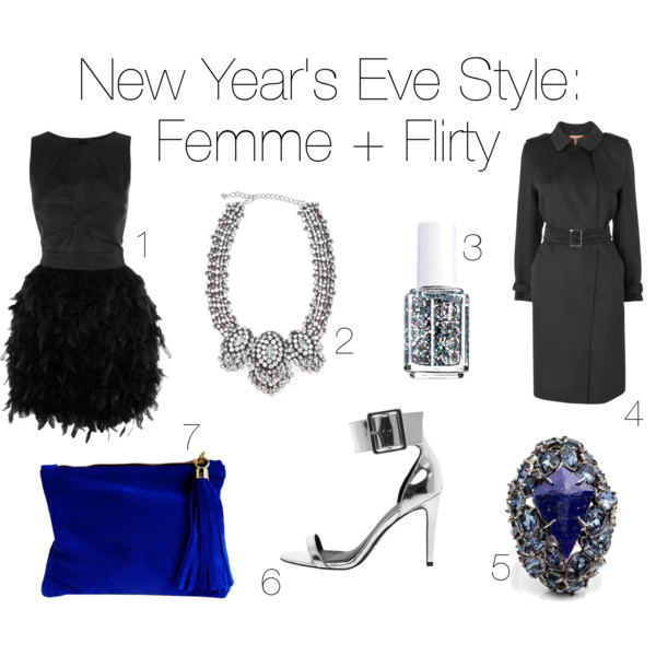 fashion, style, clothes, clothing, trends, new years eve, nye, new years eve outfit, nye outfit, new years eve style, nye style, new years eve dress, nye dress, party style, party outfit, party dress, feather dress, leather dress, feather and leather dress, necklace, jewelry, statement necklace, crystal necklace, nail polish, glitter nail polish, coat, trench coat, ring, cocktail ring, cobalt, cobalt blue, heels, ankle strap heels, pumps, silver heels, metallic heels, clutch, purse, velvet, warehouse, nocturne, essie, jaeger, alexis bittar, asos, miller and jeeves
