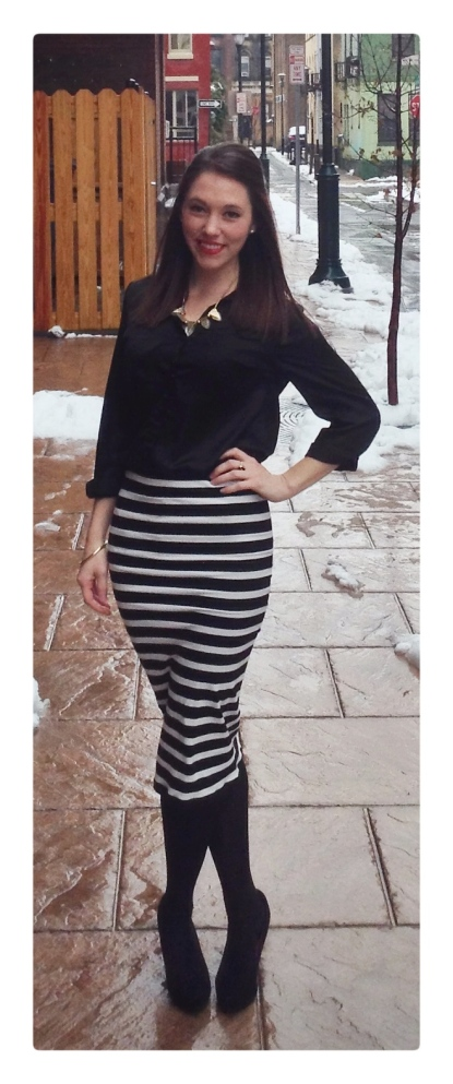 fashion, style, clothes, shopping, trends, fashion trends, skirt, striped skirt, stripes, pencil skirt, striped pencil skirt, midi skirt, midi pencil skirt, black and white, black and white stripes, black and white striped skirt, accessories, jewelry, shoes, pumps, black pumps, heels, black heels, necklace, red lipstick, red lips, beauty, button down, blouse, black button down, black blouse, bracelet, gold bracelet