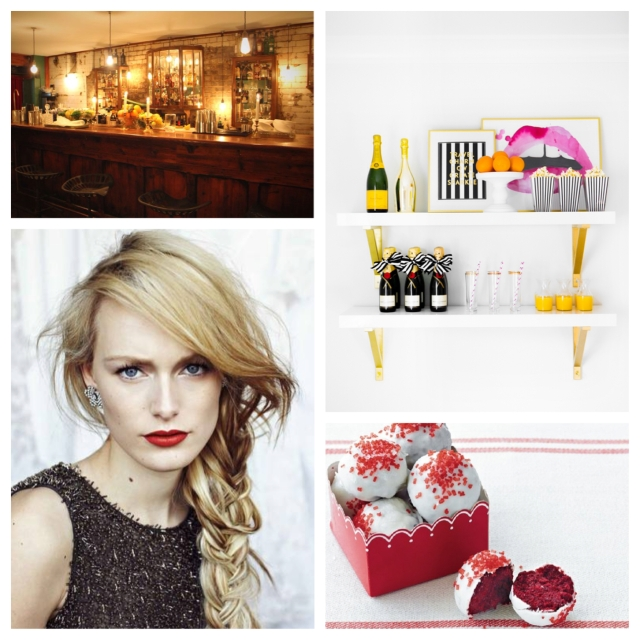 Clockwise from top left: Evans & Peel; mimosa bar; red velvet truffles; and a holiday makeup look.
