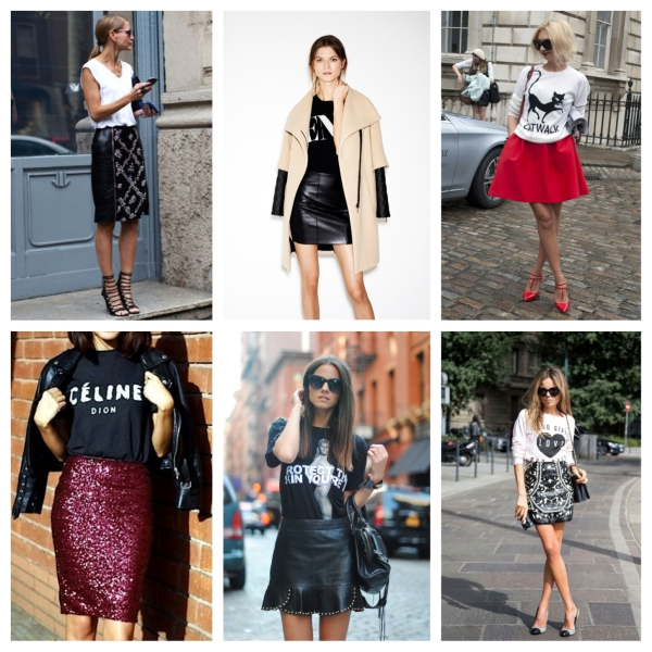 fashion, style, clothes, clothing, trend, trends, trend to try, leather skirt, skirt, pencil skirt, pleated skirt, sequin skirt, skirt and tshirt, skirt and tee, skirt and t shirt, graphic tee, graphic tshirt, graphic t shirt, graphic tee and skirt, graphic tee and leather skirt, graphic tee and sequin skirt