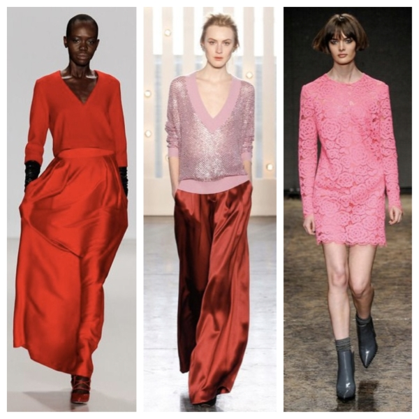 fashion, style, fashion week, new york fashion week, nyfw, fall, fall clothes, fall style, nyfw style, designer clothes, designer style, designer fashion, red, pink, red sweater, red skirt, pink sweater, pink dress, pink lace dress, marissa webb, jenny packham, dkny