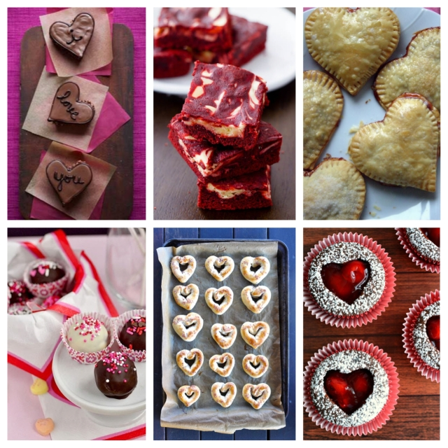 Clockwise from top left: Hazelnut Hearts via Good Housekeeping; Red Velvet Cheesecake Swirl Brownies via Sally's Baking Addiction; Strawberry Chocolate Hand Pies via Days of Chalk and Chocolate; Cherry Heart Cutout Cupcakes via Food, Family & Finds; Heart-Shaped Soft Pretzels with Pink Sea Salt via Say Yes; and Brownie Mix Truffles via Iowa Girl Eats