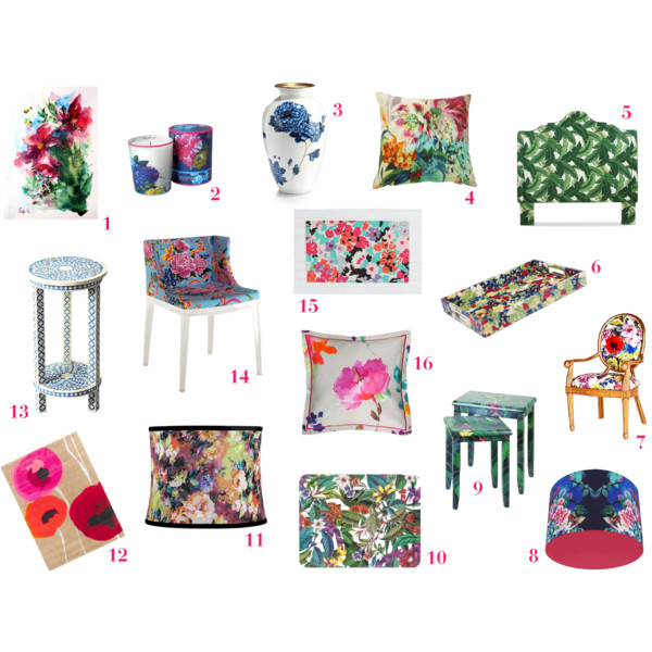 fashion, home decor, decor, decorating, decoration, home decoration, design, interior design, interior decorating, floral print, floral, floral pattern, floral print home decor, floral home decor, art, watercolor art, watercolor floral art, candle, scented candle, floral candle, vase, floral vase, pillow, throw pillow, floral print pillow, headboard, fabric headboard, palm leaf headboard, furbish studio, tray, floral print tray, oscar de la renta, chair, floral print chair, one king's lane, lampshade, floral lampshade, table, nesting table, tropical nesting table, zara home, zara, floral rug, bone inlay table, bed bath & beyond