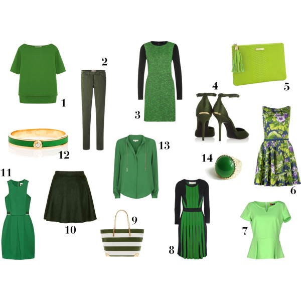 fashion, style, shopping, clothes, clothing, green clothes, green dress, green shirt, green blouse, green shoes, green pumps, green purse, green bag, green clutch, floral dress, peplum top, striped dress, striped tote, green skirt, suede skirt, jacquard dress, jewelry, bangles, bracelet, ring, cocktail ring, green ring, uniqlo, topshop, michael kors, michael michael kors, banana republic, topshop, m missoni, henri bendel